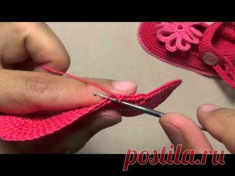 Пинетки сандалики крючком - часть 1- урок вязания . Вязание подошвы пинеток.