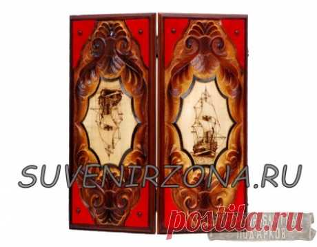 Купить нарды резные под красный бархат «Санта-Мария»