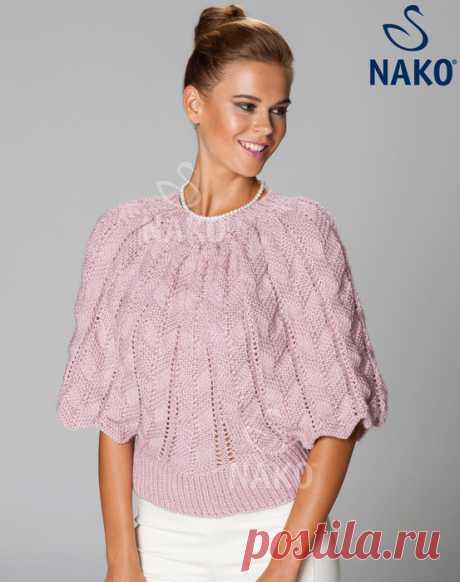 Пуловер летучая мышь спицами. Красивый пуловер спицами. |