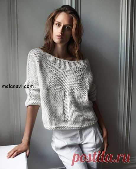 Вязаный пуловер с пальмой
