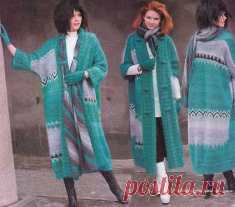 Вязаное пальто с геометрическими узорами