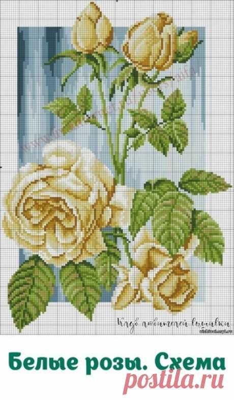 """Вышивка крестиком """"Белые розы"""""""