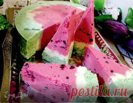 """Торт-мороженое """"Арбуз"""", пошаговый рецепт на 3400 ккал, фото, ингредиенты - Елена"""
