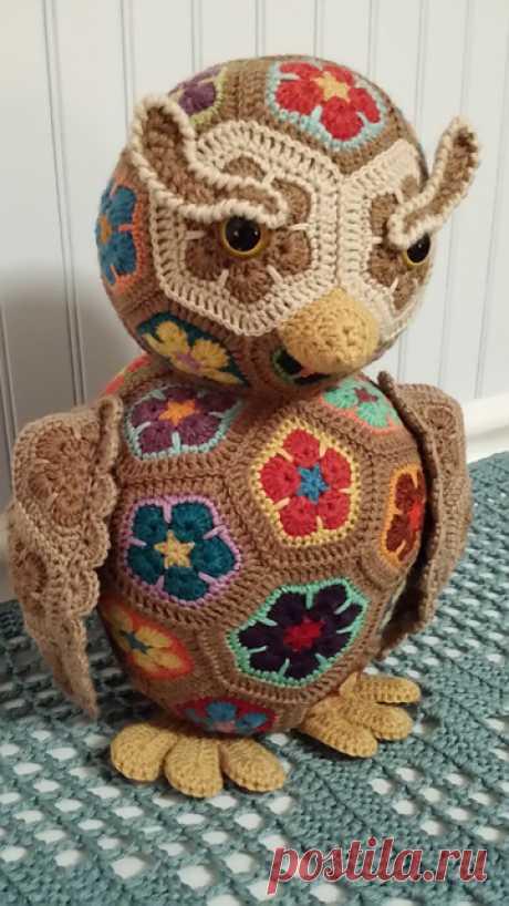 Сова, собака и медведь, связанные по МК Heidi Bears.