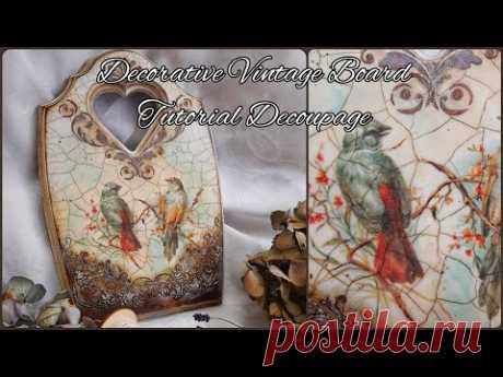 Decorative Vintage Board ♡♡♡Tutorial Decoupage - YouTube