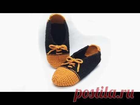 Тапочки следки от пятки без шва на подошве slippers knitting