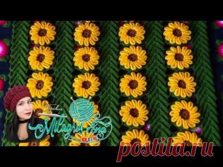 ПОЛНОЕ ВИДЕО «Листья и цветы», связанные крючком для покрывала или коврика