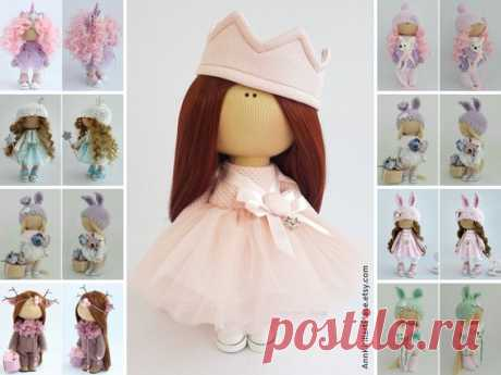 Rag Doll, Fabric Doll, Decor Doll, Interior Doll, Nursery Doll, Textile Doll, Handmade Doll, Pink Soft Doll, Tilda Doll, Art Doll by Irina B Hello, dear visitors!  This is handmade cloth doll created by Master Irina B. (Kiev, Ukraine). Doll is 28 cm (11.02 inch) tall and made of only quality materials. All dolls stated on the photo are mady by Irina B. You can find them in our shop searching by artist name: