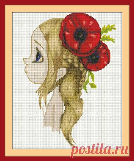 Girl with Poppies Cross Stitch Pattern PDF Embroidery | Etsy