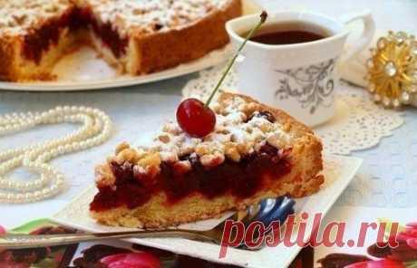 Песочный пирог с вишней | Домохозяйка