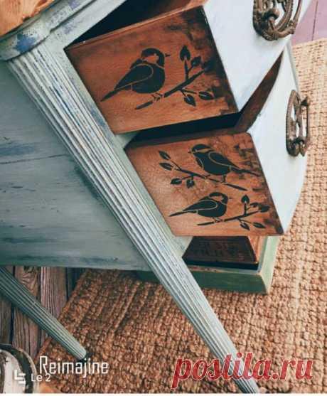 Комод с птичками Модная одежда и дизайн интерьера своими руками