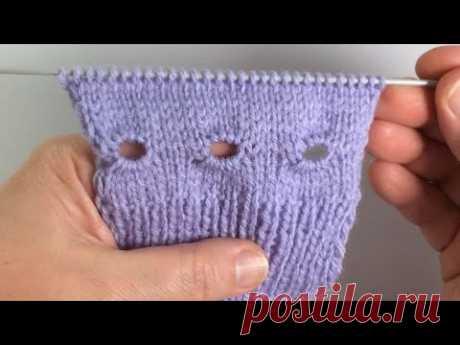 Декоративное отверстие для шнуровки вязаных изделий / Вязание спицами