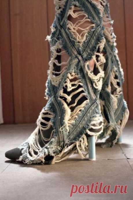 Кусочек джинсов из кусочков Модная одежда и дизайн интерьера своими руками