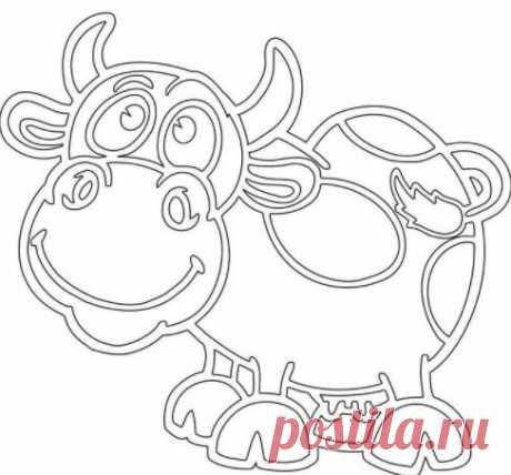 Трафареты быка (коровы) на окно к Новому году 2021 для вырезания из бумаги