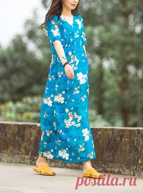 Blue middle sleeve pure ramie dress-woman V-neck dress-summer | Etsy