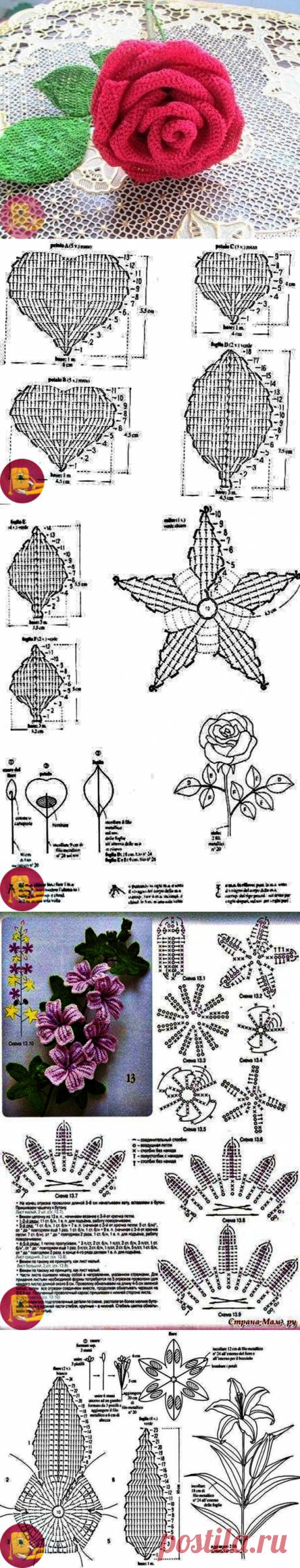 Вязаные цветы — Сделай сам, идеи для творчества - DIY Ideas