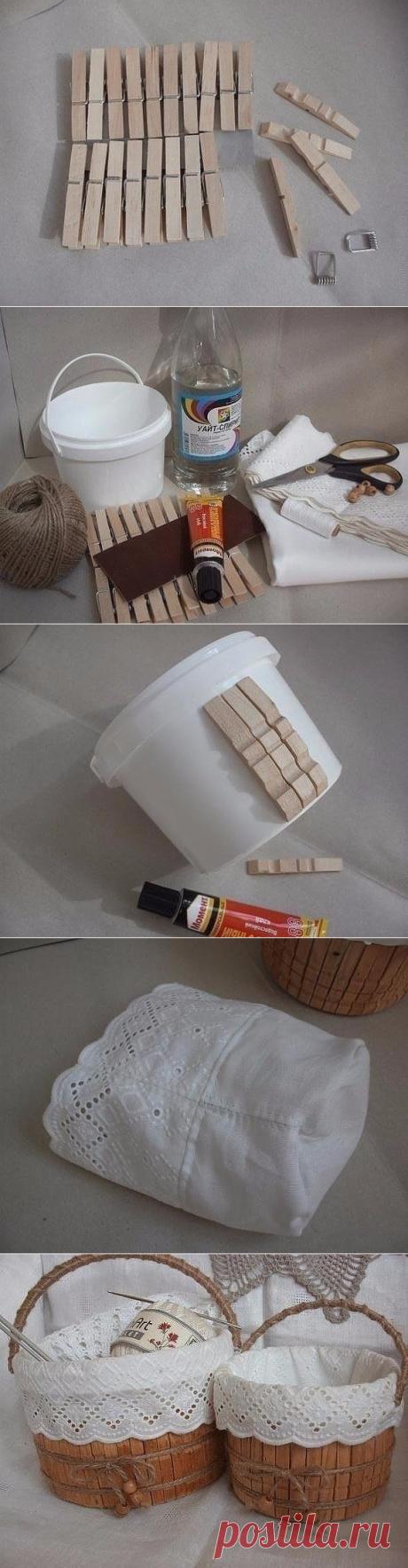 Вот какую полезную корзинку можно сделать из ведерка от майонеза.