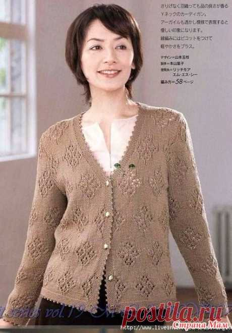 Jacket with openwork rombika. Spokes. - KNITTED FASHION + FOR NOT MODEL LADIES - the Country of Mothers