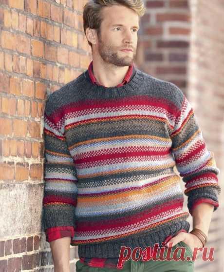 Яркий мужской джемпер с разноцветными полосами спицами!