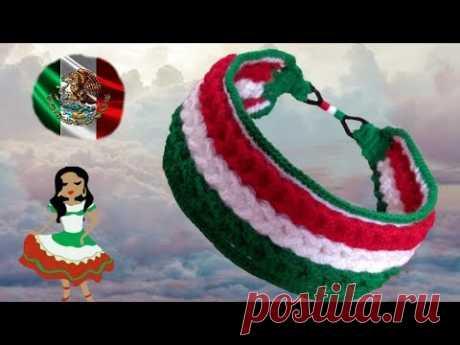 DIADEMA A CROCHET CON TRENZAS TRICOLOR( PARA EL HERMOSO PAIS DE MEXICO 🇮🇹 )😘😘