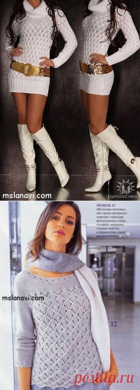 Длинный белый пуловер - Вяжем с Лана Ви
