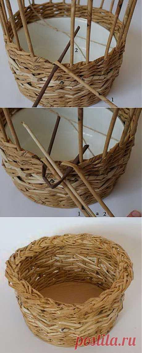 Плетение корзины из газет: простое закрытие косичкой