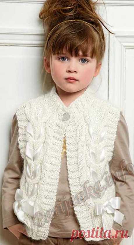 Вязание спицами для девочек Жилет (д) 45*163 Bergere de France