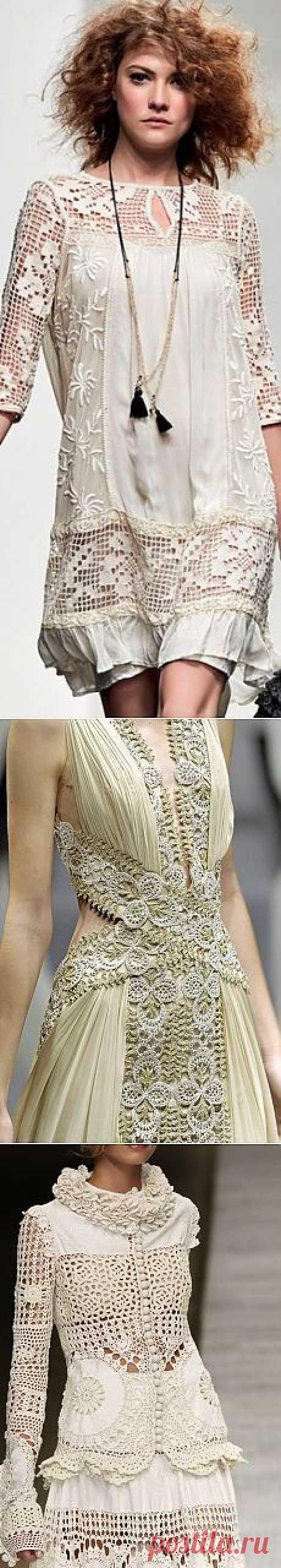 Эффектные сочетания в одежде: ажурное вязание и ткань | шедевры БоХО