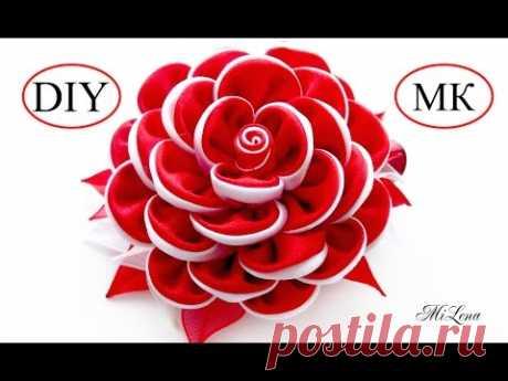 Цветок из ленты / Зажим с Цветком  Канзаши, МК / DIY Kanzashi Flower Hairclip