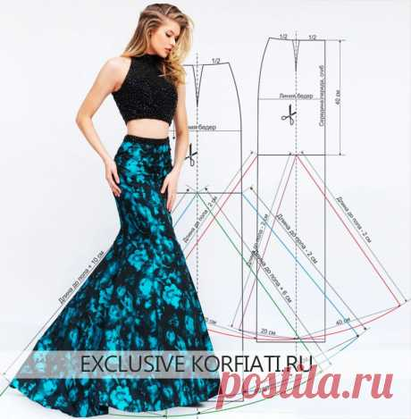 Pattern of a long skirt year from Anastasia Korfiati the Magnificent skirt emphasizing advantages and attracting all eyes. A pattern of a long skirt year and the instruction for tailoring - it is very simple to sew it independently