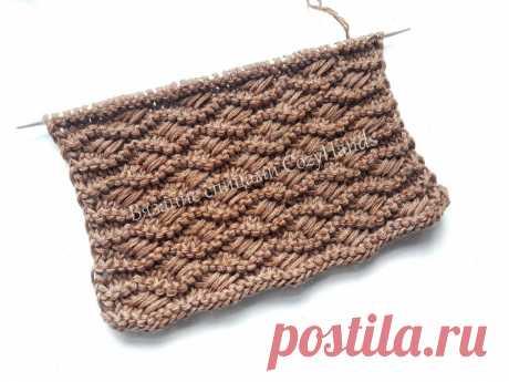 Красивый и оригинальный узор спицами Плотные волны для вязания свитеров, шапок | Вязание спицами CozyHands | Яндекс Дзен