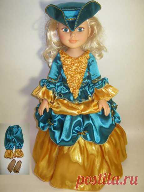 Кукла ростом 45 см (пластмасса), платье из атласа с пышным подъюбником , застёжка на замке, в комплекте туфли из кож зама, панталоны , шляпа (украшена бисером), цена 1500