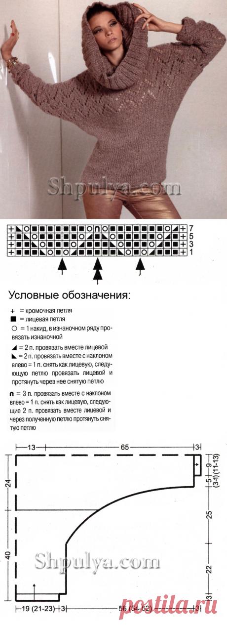 "www.SHPULYA.com - Пуловер с рукавами ""летучая мышь"" и снуд-труба спицами"