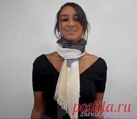Как завязать теплый шарф.