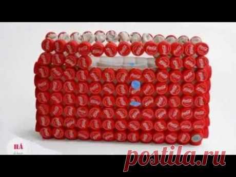 Оригинальные сумки из пробок пластиковых бутылок. Поделки сумки из пластиковых пробок