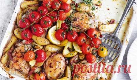 Запеченная курица с картофелем и томатами черри