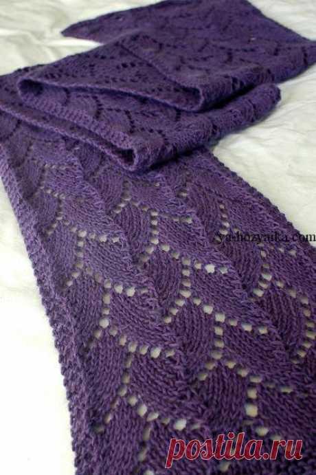 Ажурные узоры для шарфа спицами. Женский тёплый ажурный шарф спицами