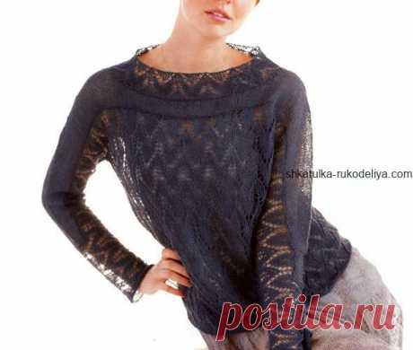 Ажурный пуловер Ажурный пуловер спицами. Летний женский пуловер с описанием спицами