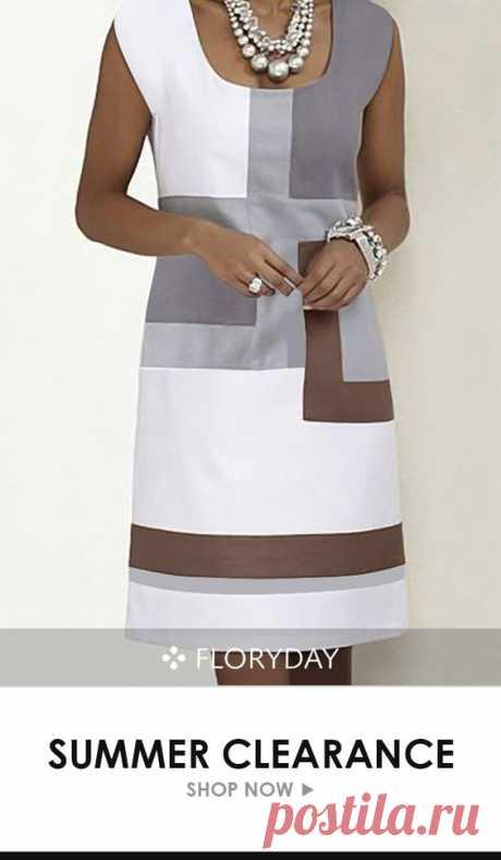 Color block tunic square neckline knee-length dress, trendy, summer style.
