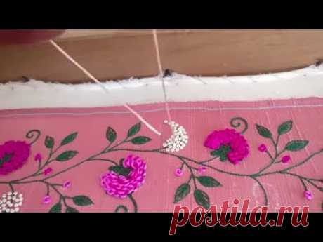 Challa floral Jaali design embroidery work - YouTube