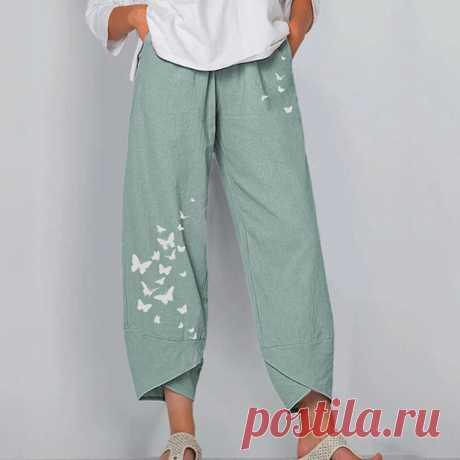 Летние льняные брюки для девочек повседневные штаны-шаровары с цветочным принтом, с эластичной резинкой на талии,