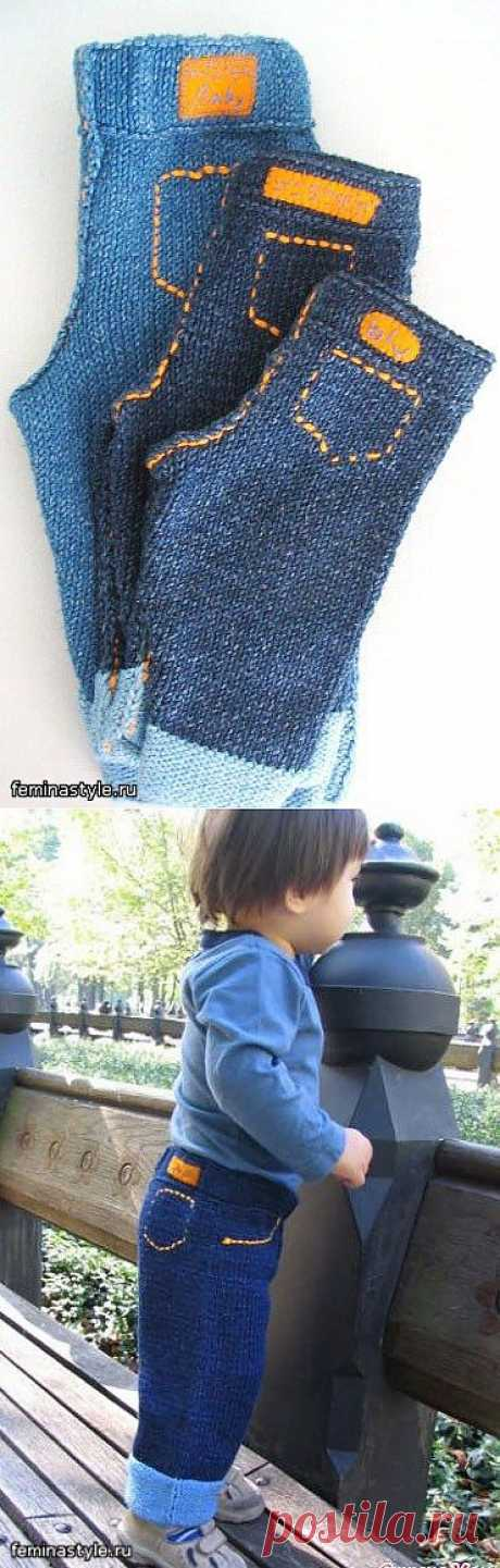 """Вязаные """"джинсы"""" для детей! Какая прелесть!."""