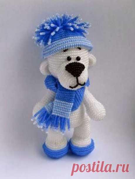 МК: Снежный медвежонок из бисера / Бисер / Разнообразные поделки из бисера: схемы,мастер классы