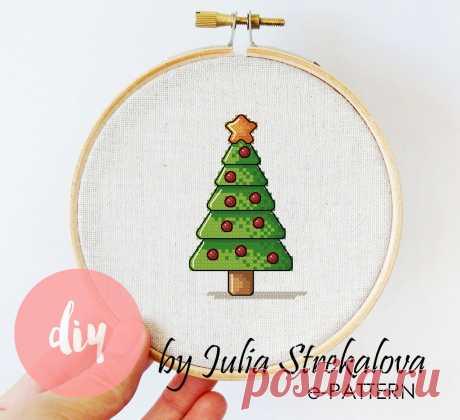 Схема для вышивки крестом Новогодняя с елкой e-pattern
