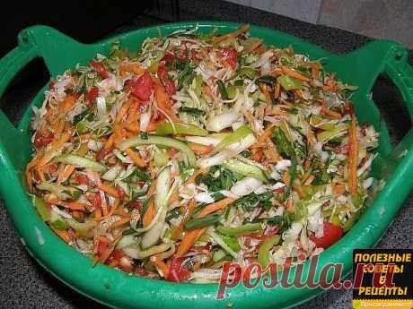 Салат на зиму.   Ингредиенты: 3 кг зеленых помидор (зеленые, потому что незрелые)  1 кг моркови  1 кг репчатого лука  1 кг перца болгарского  100 гр крупной соли  300 гр сахарного песка.   Приготовление: Помыть, почистить, помидоры, лук и перец порезать кольцами, морковь натереть на простой терке или для корейской моркови, засыпать солью и сахаром, дать постоять (можно на всю ночь), должен появиться сок.  Поставить на огонь, довести до кипения, положить 400 гр. растительно...