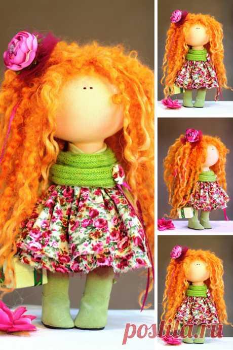 Rag Doll Fabric Doll Teen Doll Handmade Doll Red Doll Soft