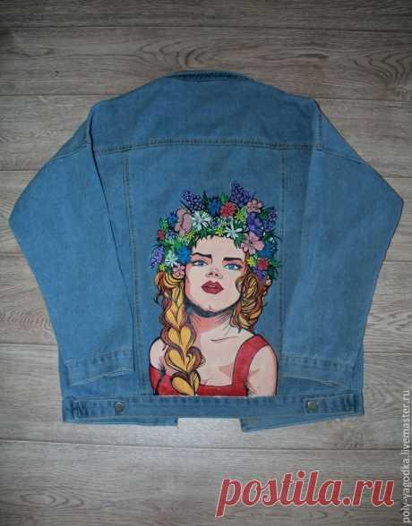 Декорируем джинсовую куртку изображением девушки-славянки в стиле поп-арт | Журнал Ярмарки Мастеров