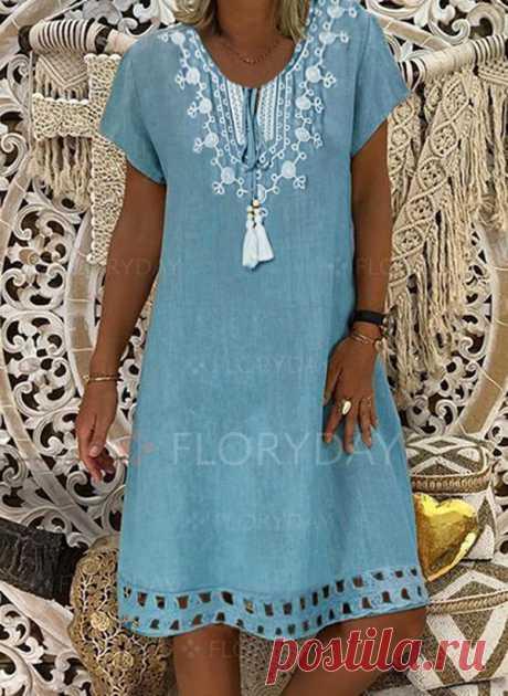 Повседневное длины выше колена Платья с сочетанием контрастных цветов с короткыми рукавами - Floryday