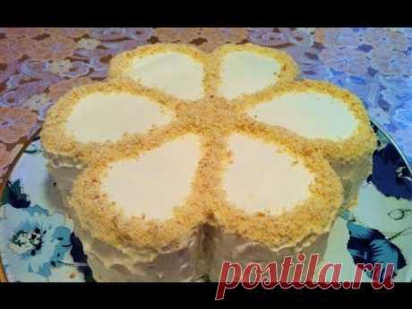Торт Минутка на Сгущенном Молоке со Сметанным Кремом/Торт на Сковороде/Быстрый Торт/Торт Цветок