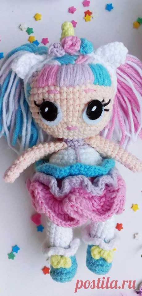 "PDF Кукла Лол ""Единорожка"" крючком. FREE crochet pattern; Аmigurumi doll patterns. Амигуруми схемы и описания на русском. Вязаные игрушки и поделки своими руками #amimore - Кукла LOL, куколка."